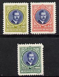 Rumania 1931 King Carol set of 3 unmounted mint, SG 1191-93, Mi 386-88
