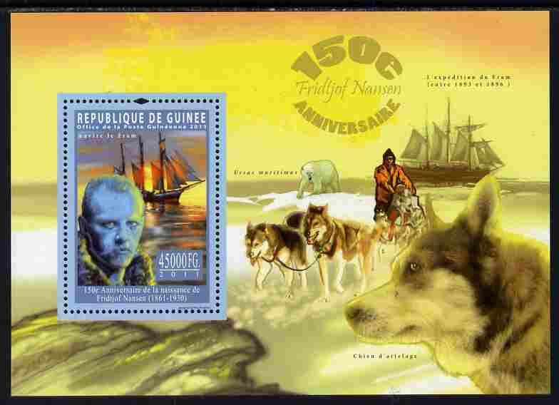 Guinea - Conakry 2011 150th Birth Anniversary of Fridtjof Nansen perf s/sheet unmounted mint