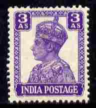India 1940-43 KG6 def 3a bright violet fine unmounted mint, SG 271, stamps on , stamps on  kg6 , stamps on