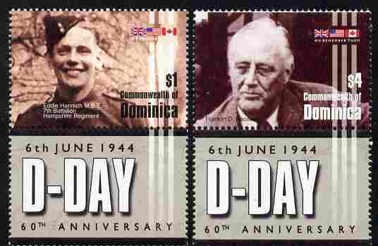 Dominica 2004 60th Anniversary of D-Day perf set of 2 each se-tenant with label unmounted mint SG 3397-98