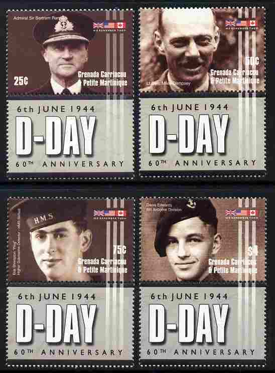 Grenada - Grenadines 2004 60th Anniversary of D-Day perf set of 4 each se-tenant with label unmounted mint SG 3678-81