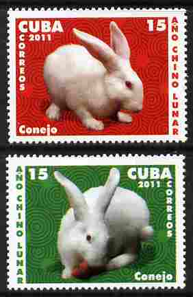 Cuba 2011 Chinese New Year - Year of the Rabbit perf set of 2 unmounted mint