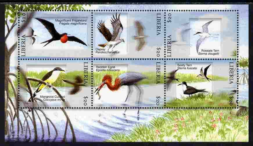 Liberia 2010 Birds perf sheetlet containing 6 values unmounted mint