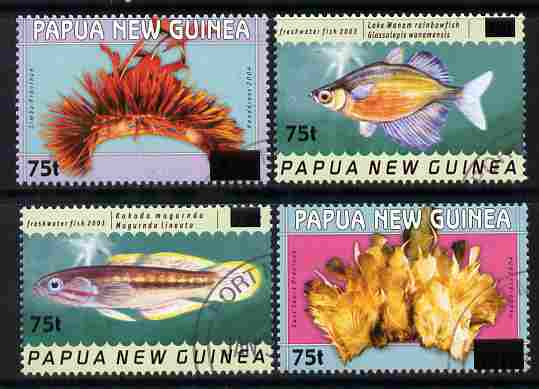 Papua New Guinea 2005 Surcharged set of 4 fine cds used SG 1056-59