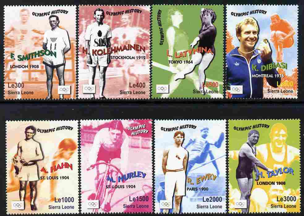 Sierra Leone 2003 Olympic History - Gold Medal Winners perf set of 8 unmounted mint SG 4156-63