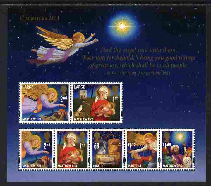 Great Britain 2011 Christmas perf sheetlet containing set of 7 values unmounted mint