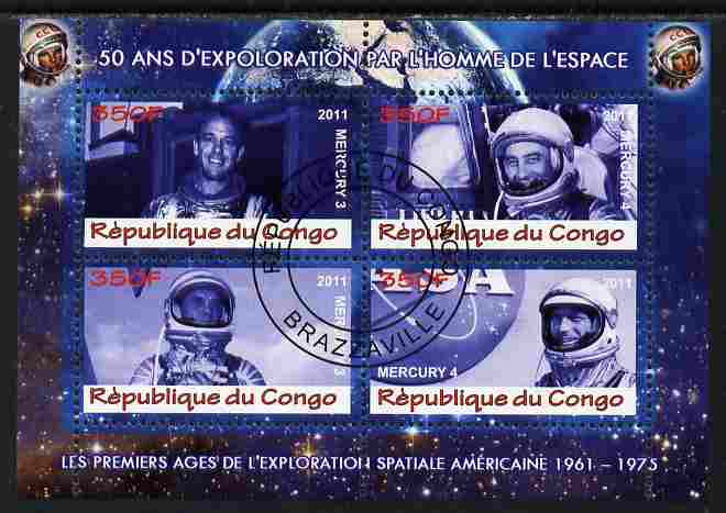 Congo 2011 50th Anniv of First Man in Space - USA #01 perf sheetlet containing 4 values fine cto used
