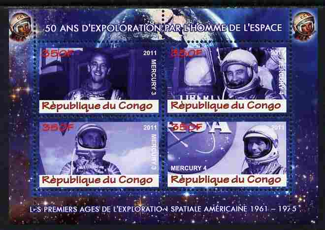 Congo 2011 50th Anniv of First Man in Space - USA #01 perf sheetlet containing 4 values unmounted mint