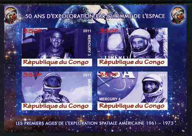 Congo 2011 50th Anniv of First Man in Space - USA #01 imperf sheetlet containing 4 values unmounted mint