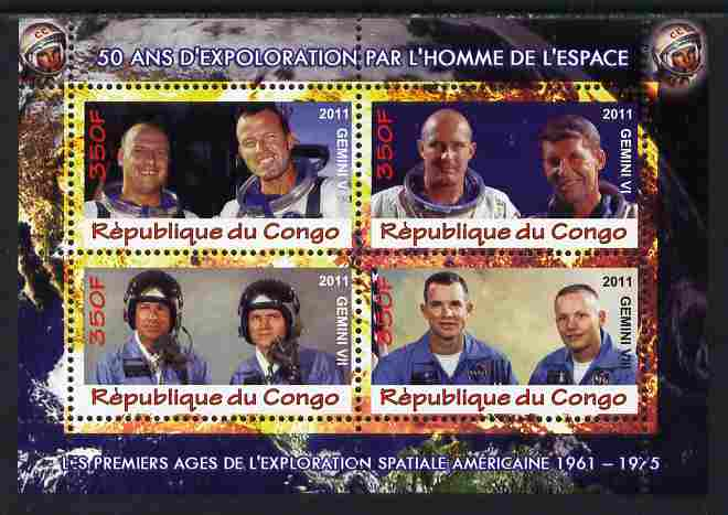 Congo 2011 50th Anniv of First Man in Space - USA #02 perf sheetlet containing 4 values unmounted mint