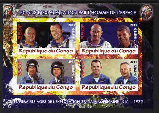 Congo 2011 50th Anniv of First Man in Space - USA #02 imperf sheetlet containing 4 values unmounted mint