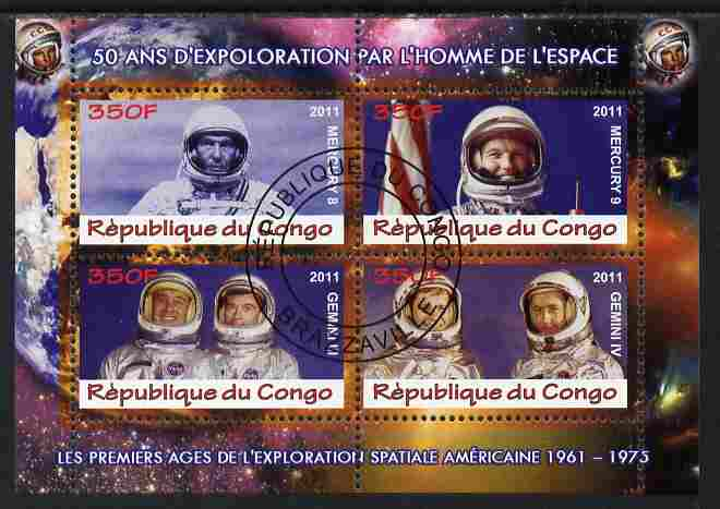 Congo 2011 50th Anniv of First Man in Space - USA #03 perf sheetlet containing 4 values fine cto used