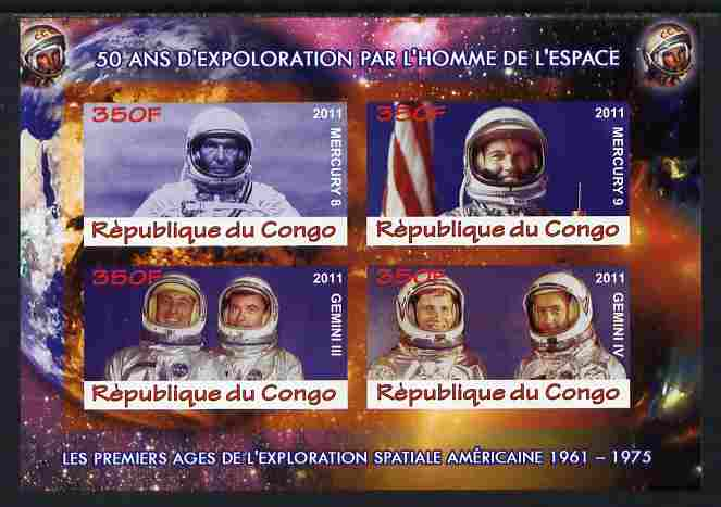 Congo 2011 50th Anniv of First Man in Space - USA #03 imperf sheetlet containing 4 values unmounted mint