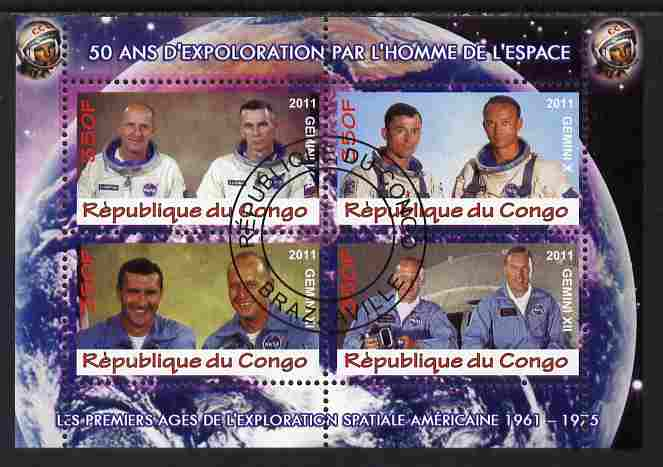 Congo 2011 50th Anniv of First Man in Space - USA #04 perf sheetlet containing 4 values fine cto used