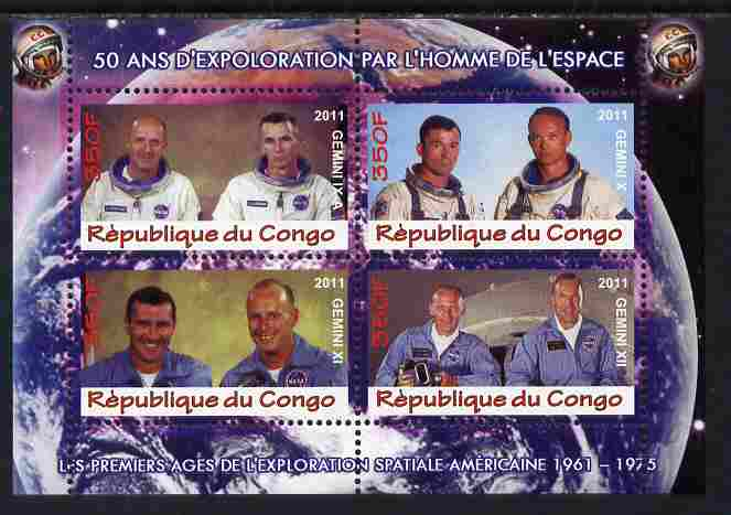Congo 2011 50th Anniv of First Man in Space - USA #04 perf sheetlet containing 4 values unmounted mint