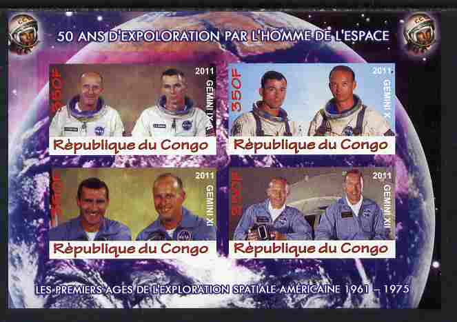 Congo 2011 50th Anniv of First Man in Space - USA #04 imperf sheetlet containing 4 values unmounted mint