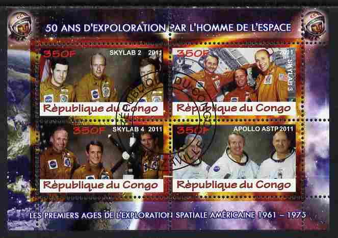 Congo 2011 50th Anniv of First Man in Space - USA #05 perf sheetlet containing 4 values fine cto used