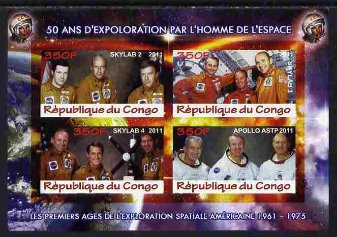 Congo 2011 50th Anniv of First Man in Space - USA #05 imperf sheetlet containing 4 values unmounted mint