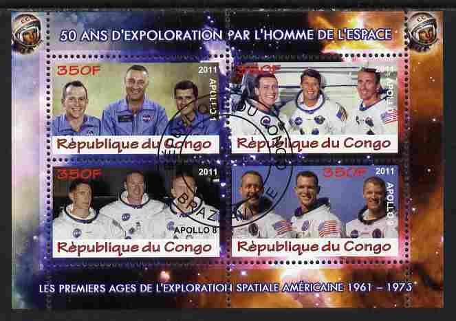 Congo 2011 50th Anniv of First Man in Space - USA #06 perf sheetlet containing 4 values fine cto used, stamps on space, stamps on rockets, stamps on americana