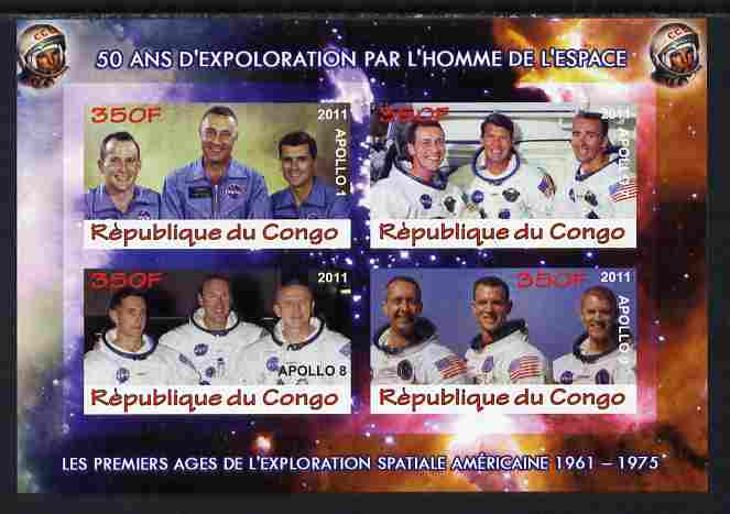 Congo 2011 50th Anniv of First Man in Space - USA #06 imperf sheetlet containing 4 values unmounted mint