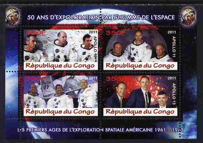 Congo 2011 50th Anniv of First Man in Space - USA #07 perf sheetlet containing 4 values unmounted mint