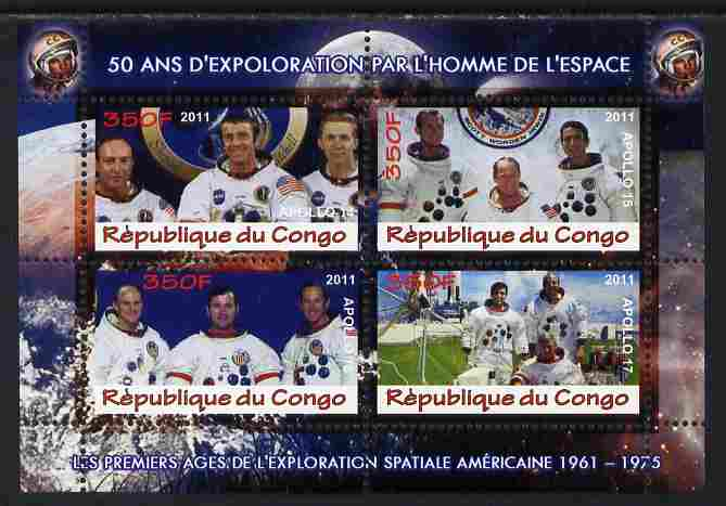Congo 2011 50th Anniv of First Man in Space - USA #08 perf sheetlet containing 4 values unmounted mint