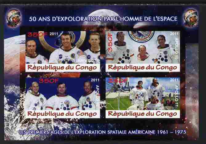 Congo 2011 50th Anniv of First Man in Space - USA #08 imperf sheetlet containing 4 values unmounted mint