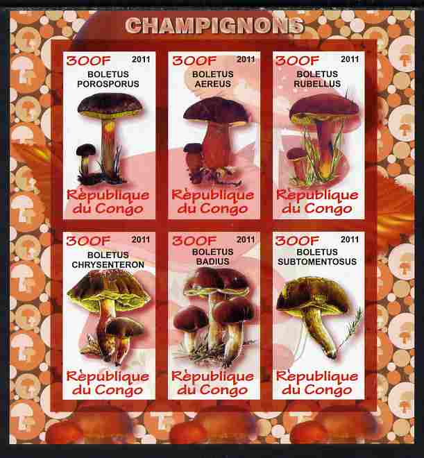 Congo 2011 Fungi imperf sheetlet containing 6 values unmounted mint