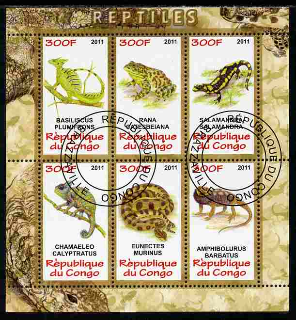 Congo 2011 Reptiles perf sheetlet containing 6 values fine cto used