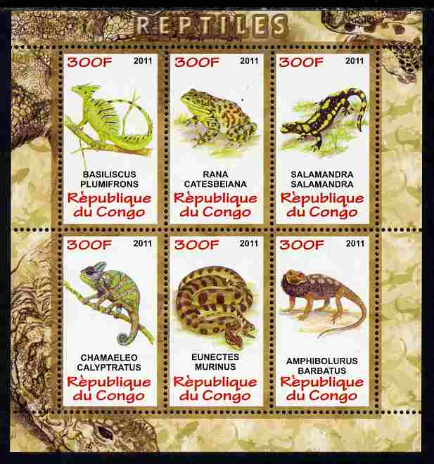 Congo 2011 Reptiles perf sheetlet containing 6 values unmounted mint
