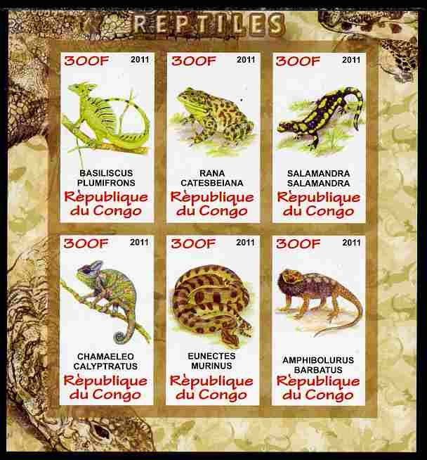 Congo 2011 Reptiles imperf sheetlet containing 6 values unmounted mint