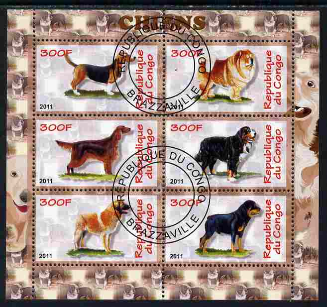 Congo 2011 Dogs perf sheetlet containing 6 values fine cto used