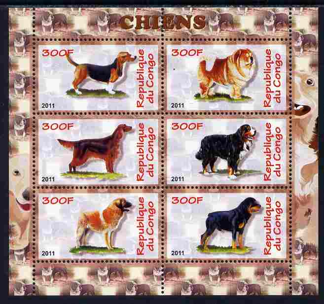Congo 2011 Dogs perf sheetlet containing 6 values unmounted mint
