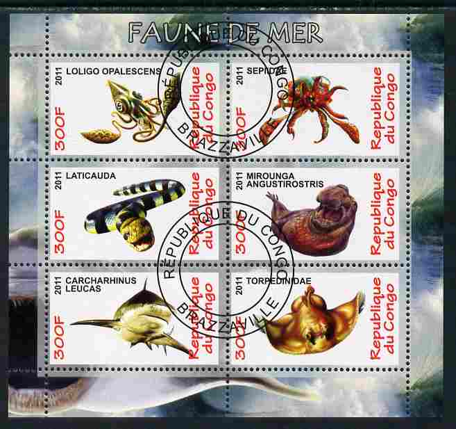 Congo 2011 Sea Life perf sheetlet containing 6 values fine cto used