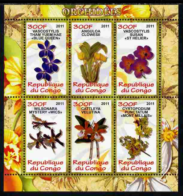 Congo 2011 Orchids perf sheetlet containing 6 values unmounted mint