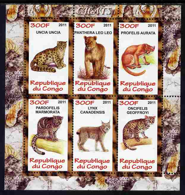 Congo 2011 Wild Cats perf sheetlet containing 6 values unmounted mint