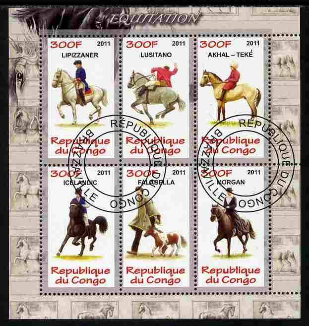 Congo 2011 Horses perf sheetlet containing 6 values fine cto used