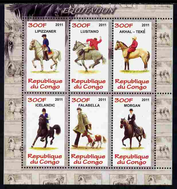 Congo 2011 Horses perf sheetlet containing 6 values unmounted mint