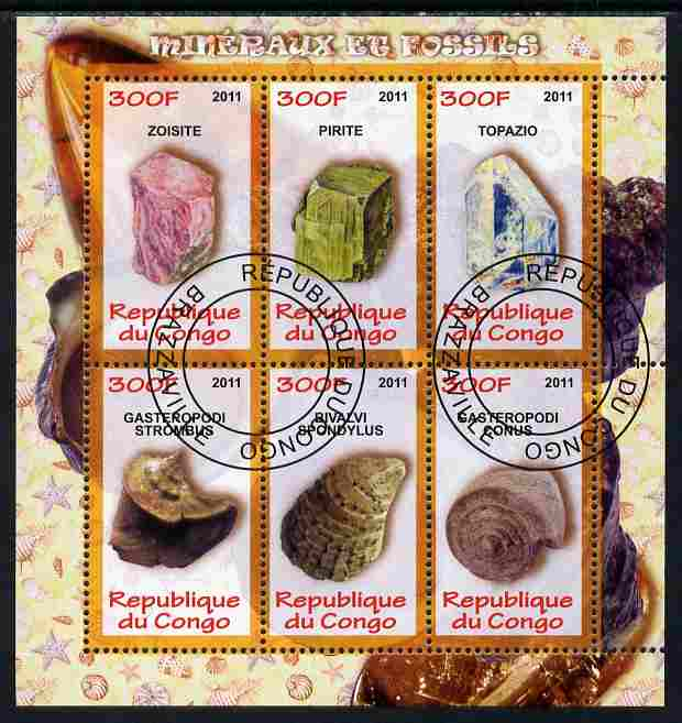Congo 2011 Minerals & Fossils perf sheetlet containing 6 values fine cto used