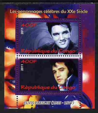Congo 2011 Elvis Presley perf sheetlet containing 2 values unmounted mint