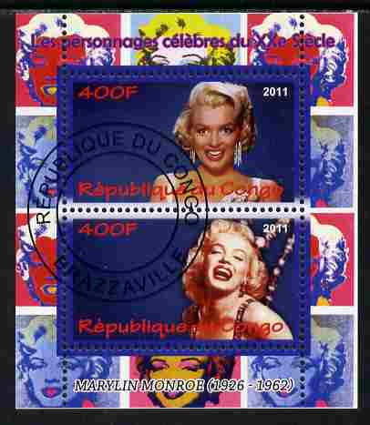 Congo 2011 Marilyn Monroe perf sheetlet containing 2 values fine cto used