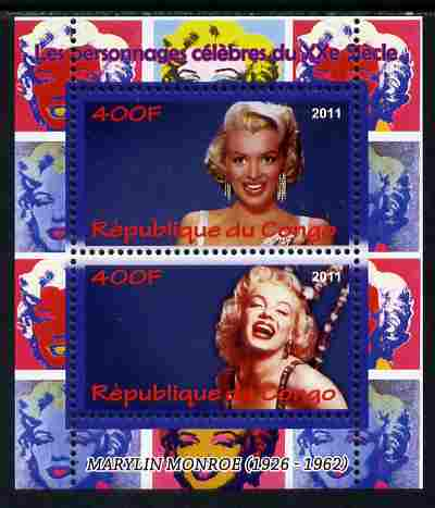 Congo 2011 Marilyn Monroe perf sheetlet containing 2 values unmounted mint