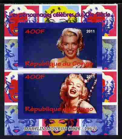 Congo 2011 Marilyn Monroe imperf sheetlet containing 2 values unmounted mint