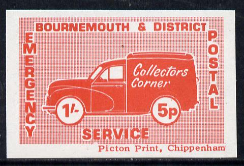 Cinderella - Great Britain 1971 Bournemouth & District Emergency Postal Service 'Collectors Corner Morris Van' dual value 1s - 5p in red on white paper unmounted mint