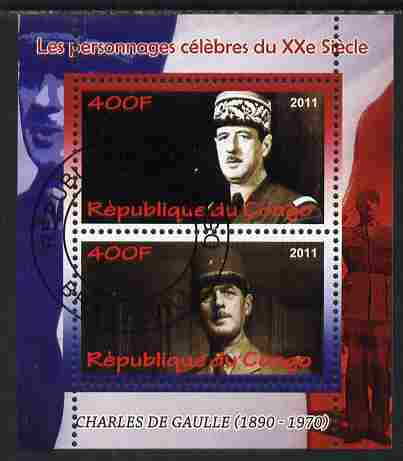 Congo 2011 Charles de Gaulle perf sheetlet containing 2 values fine cto used