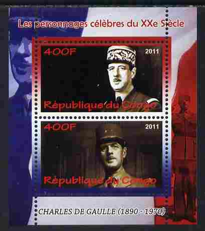 Congo 2011 Charles de Gaulle perf sheetlet containing 2 values unmounted mint