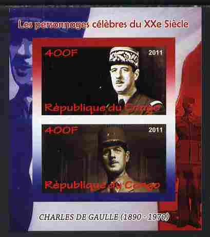 Congo 2011 Charles de Gaulle imperf sheetlet containing 2 values unmounted mint