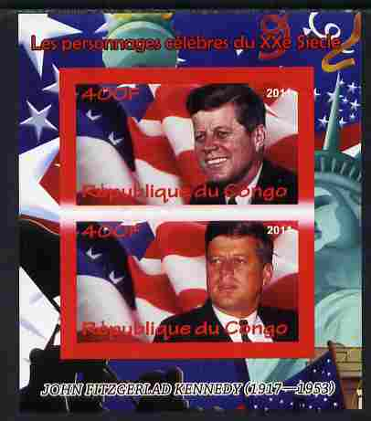 Congo 2011 John F Kennedy imperf sheetlet containing 2 values unmounted mint