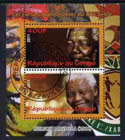 Congo 2011 Nelson Mandela perf sheetlet containing 2 values fine cto used