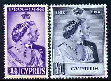 Cyprus 1948 KG6 Royal Silver Wedding set of 2 unmounted mint SG 166-7